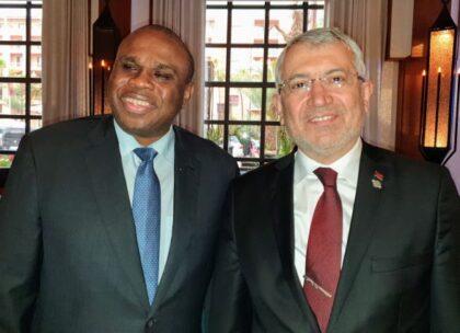 Afreximbank President Prof. Benedict Oramah (left) with Adnan Yıldırım, CEO, Turk Eximbank, during their meeting in Marrakesh.