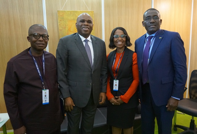 Afreximbank President Dr. Benedict Oramah (2nd Left) with (L-R) Simon Aranonu, Executive Director, Bank of Industry, Nigeria; Kanayo Awani., Managing Director, Intra-African Trade Initiative, Afreximbank; and Waheed Olagunju, Acting Managing Director, Bank of Industry, Nigeria.