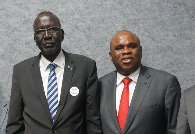 Afreximbank President Dr. Benedict Oramah (right) with Stephen Dhieu Dau, Finance Minister of South Sudan