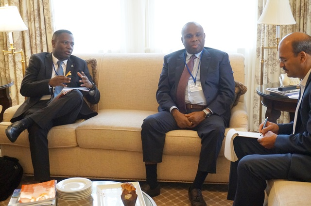 Olavo Avelino Garcia Correia, Minister of Finance of Cape Verde, making a point during his meeting with Afreximbank President Dr. Benedict Oramah (centre) in Washington D.C.