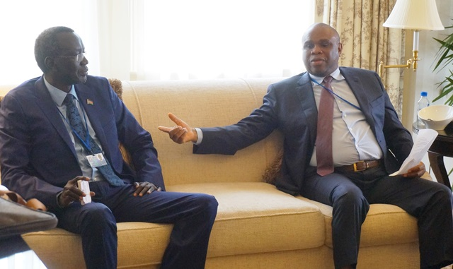 Afreximbank President Dr. Benedict Oramah (right) with Stephen Dhieu Dau, Finance Minister of South Sudan.