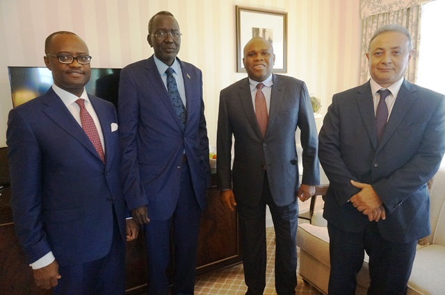 Afreximbank President Dr. Benedict Oramah (2nd right) with Stephen Dhieu Dau, Finance Minister of South Sudan (3rd right) and Dr. George Elombi, Afreximbank Executive Vice President, Governance, Legal, and Corporate Services (1st left), and Amr Kamel, Afreximbank Executive Vice President, Business Development and Corporate Banking, after the meeting.