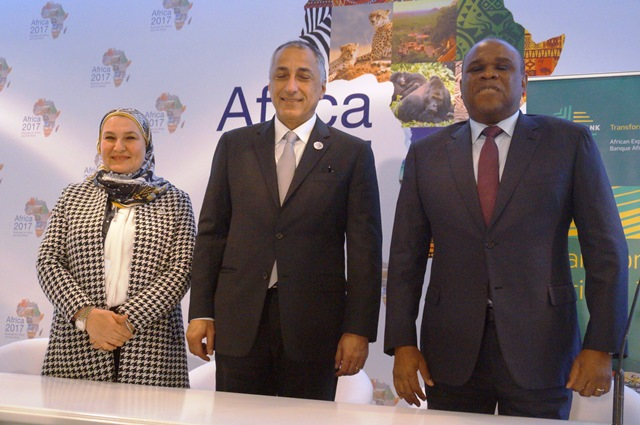 Dr. Benedict Oramah, President of Afreximbank (right), and Mervat Soltan, Chairperson of EBE, exchange documents following the signing ceremony in Sharm el Sheikh, Egypt, today.