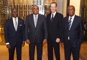 Mr. Kennedy (2nd right) with (R-L) Afreximbank's pioneer President Christopher Edordu, current President, Dr. Benedict Oramah, and immediate past President Jean-Louis Ekra.
