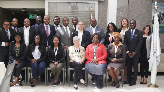 The 2019 COFIT cohort, joined by some Afreximbank staff members, during a visit to the Bank's Headquarters in Cairo