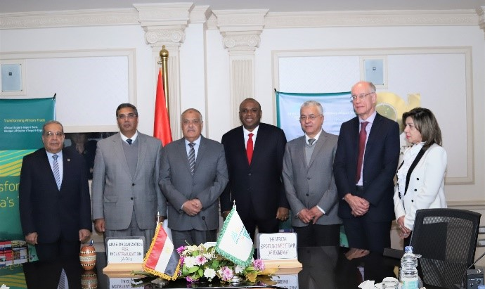 President Benedict Oramah of Afreximbank (centre) and Lt. Gen Abdel Moneim Eltarass, Chairman of AOI (3rd left), in group photo with members of the AOI delegation.