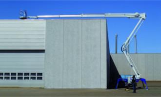 På den nyeste Falcon Spider lift er udlægget øget med tre meter, så rækkevidden er oppe på 19 meter sidevejrs.
