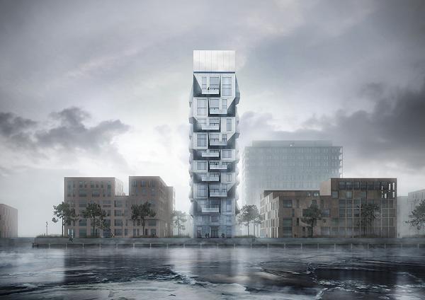 Nordhavns vartegn med solafskærmning fra Blendex