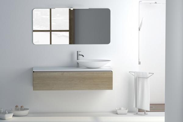 Lyse baderumsmøbler i nordisk stil
