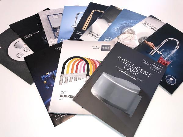 Find inspiration til badeværelse og køkken i GROHEs brochurer-univers.