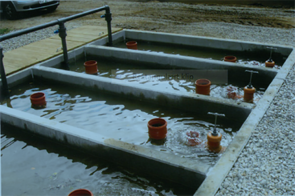 Betonelementer til fiskebassiner I dambrug