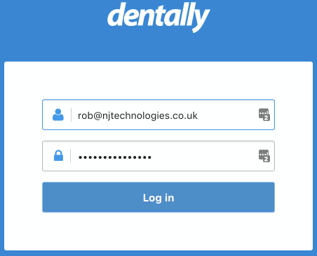 Password - Dentally dental software