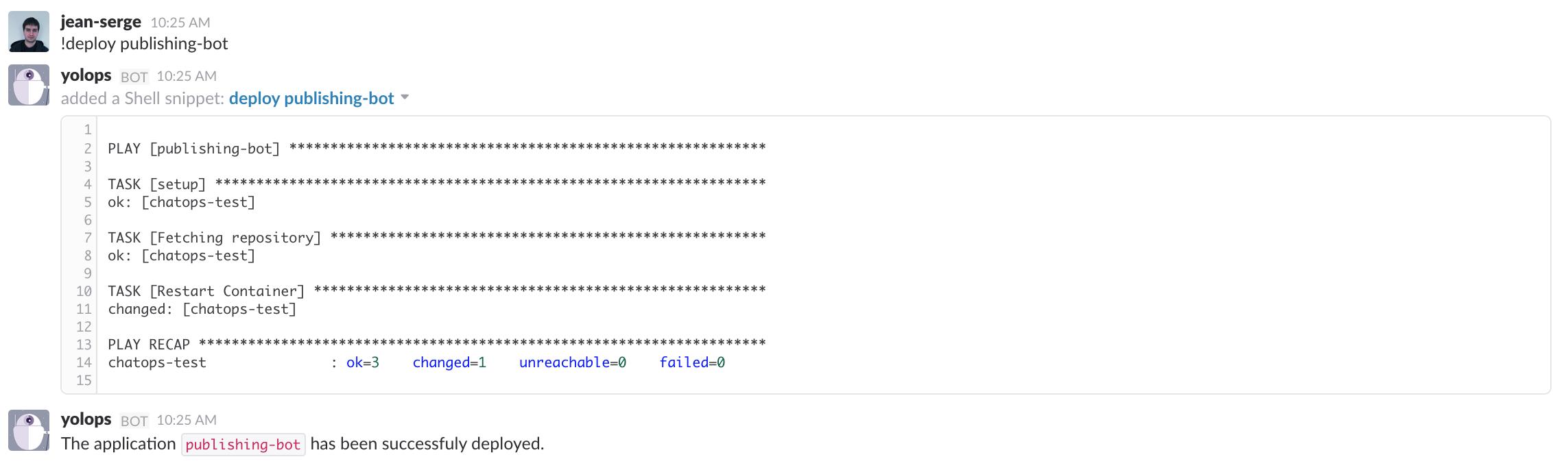 Exemple de déploiement d'application via le *Chatops*