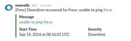 Exemple de notification *NewRelic*