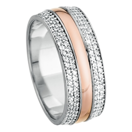 Rose And White Gold 6mm Court Shape Bright Polished Finish CZ 9ct Wedding Ring