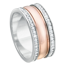 Rose And White Gold 8mm Flat Shape Bright Polished CZ Wedding Ring