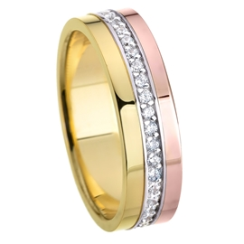 Rose And Yellow Gold 4mm Flat Shape Bright Polished Bread Bright Setting CZ Wedding Ring