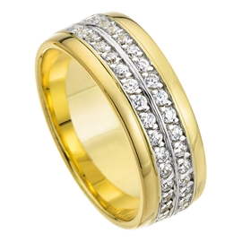 9ct Yellow And White Gold 7mm Court Shape Matt Center Bright Polished Edges CZ Wedding Ring