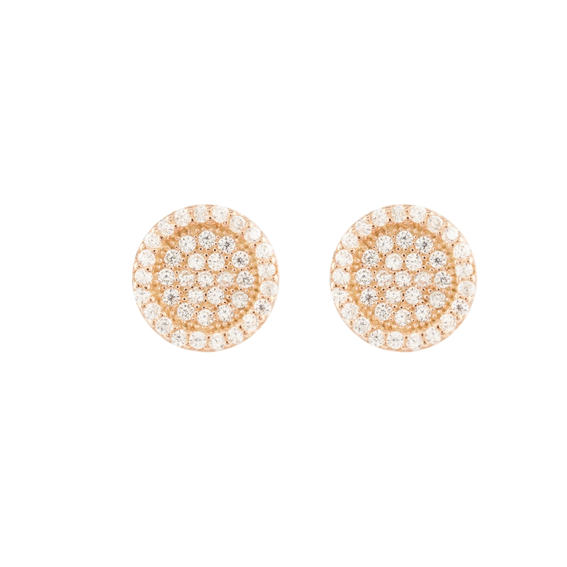 ed397c45fc909 Classy Design Round Shape Rose Gold Colour 925 Sterling Silver Earrings  studded with CZ