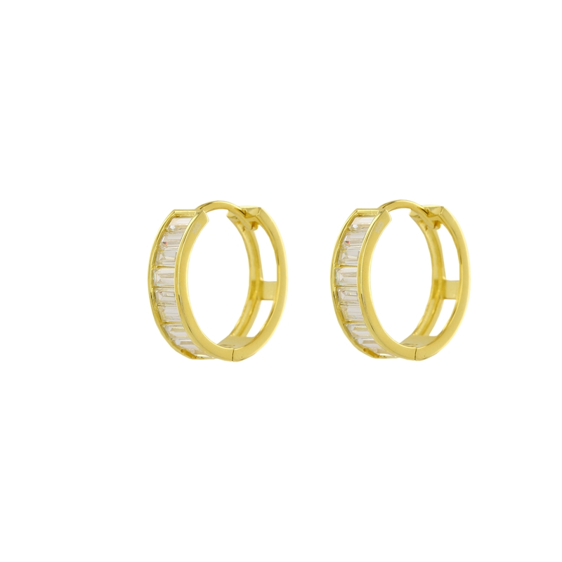 0f2e6b56ca6 Fashionable Design Yellow Gold Colour 925 Sterling Silver Hugging Earrings  studded with CZ