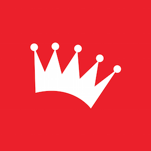 Geekdom crown logo white on red