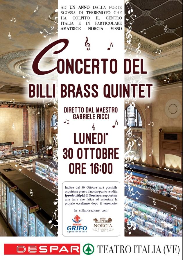Despar Teatro Italia a Venezia: Billi Brass Quintet in concerto, per ricordare il terremoto del 30 ottobre 2016