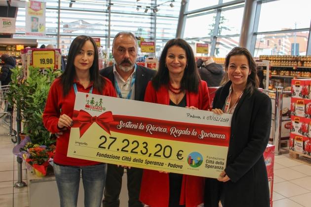27.223 euro alla Fondazione Città della Speranza: finanzieranno il lavoro di un ricercatore.