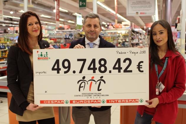 Despar dona 49.748 euro all'Associazione Italiana contro le Leucemie