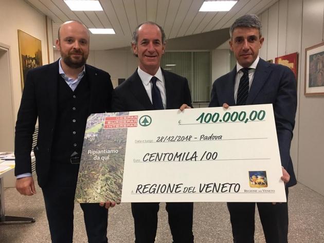 Emergenza maltempo in Veneto: Despar consegna centomila euro al Presidente Zaia