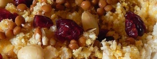Cous cous di cavolfiore con lenticchie e mandorle