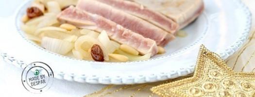 Tagliata di tonno con stufato di cipolle