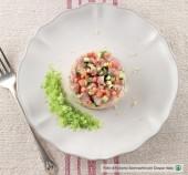 Tartare di ricciola allo zenzero con granatina al cetriolo Punti - 0