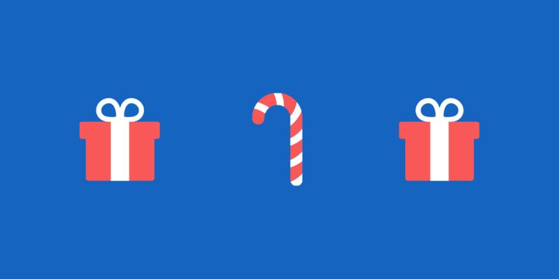 Sfondo blu con icone natalizie