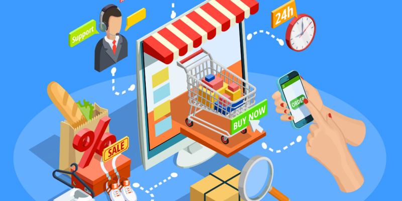 shopping-poster-isometrico-concetto-di-e-commerce