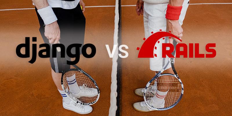 django versus ruby on rails con tennisti sullo sfondo che si sfidano