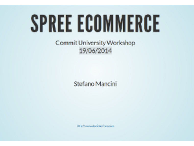 Spree Ecommerce Workshop