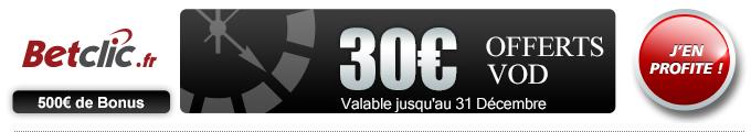 bonus 30€ sur BetClic Poker