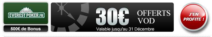 bonus 30€ sur Everest Poker