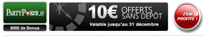 partypoker bonus 10€ offerts