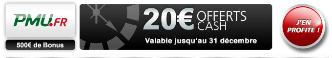 bonus 20€ sur PMU