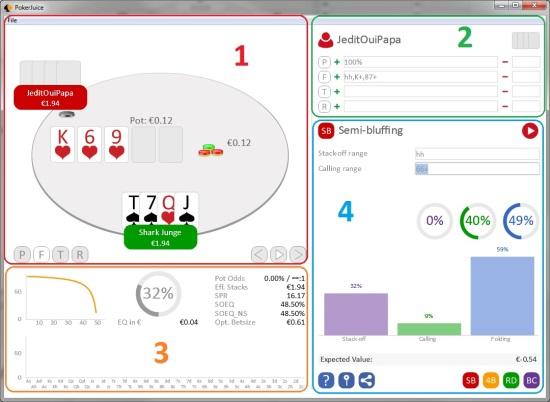 Interface pokerjuice poker académie plo logiciel