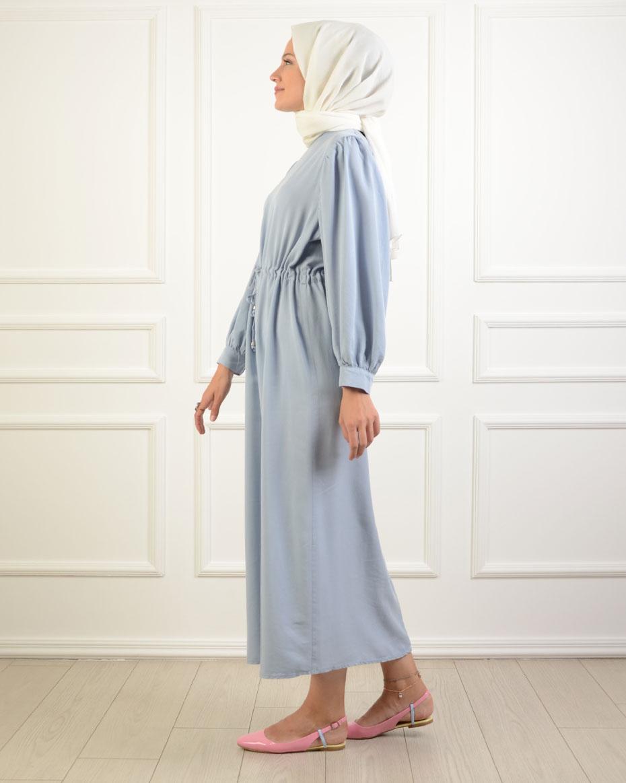 Beli Bağlamalı Elbise BUZ MAVİ