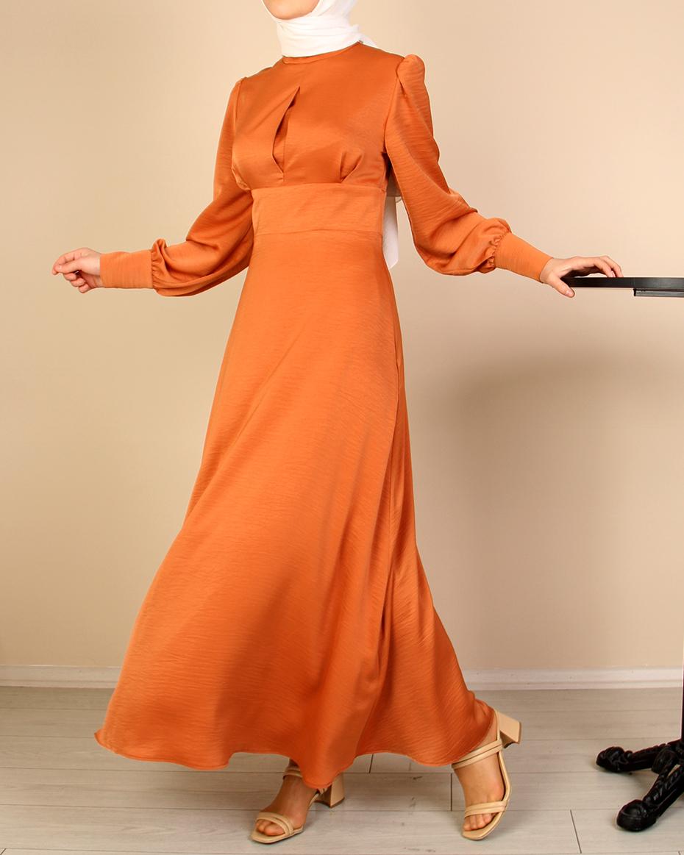 Kolu Manşetli Büzgülü Belden Oturtmalı Elbise TURUNCU