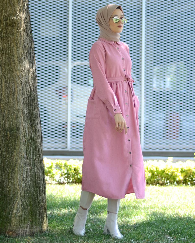 Kadife Kuşaklı Elbise PEMBE