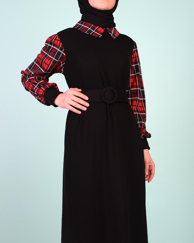 Kol yaka ekoseli triko elbise SİYAH-BORDO