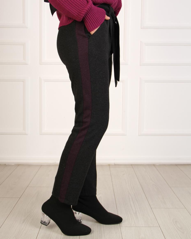 Yanları Renkli Beli Bağlamalı Havuç Pantalon SİYAH-MOR