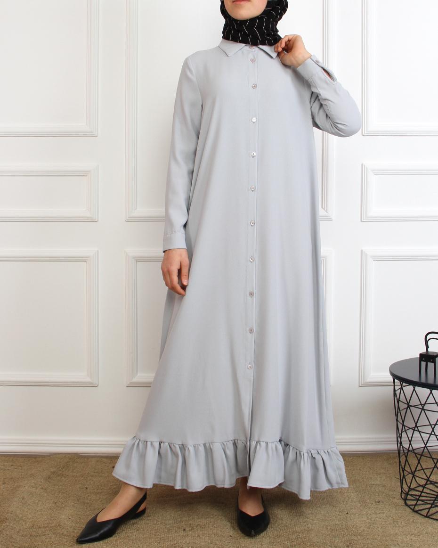 Eteği Fırfırlı Elbise GRİ