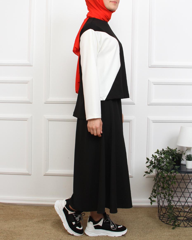 Önü Kısa Arkası Uzun Eteği Kloş Siyah Beyaz Etekli Takım Siyah Beyaz