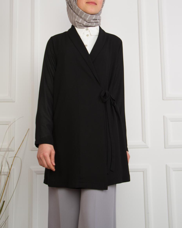 Önü Kapaklı Bağlamalı Ceket SİYAH