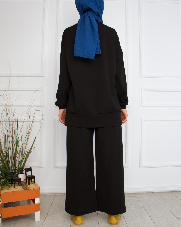 Sol Tarafı Payet Detaylı Pantolonlu Takım Siyah